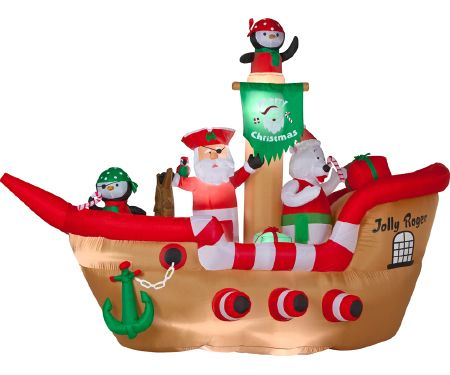 65ft Airblown Deluxe Christmas Pirate Ship Scene