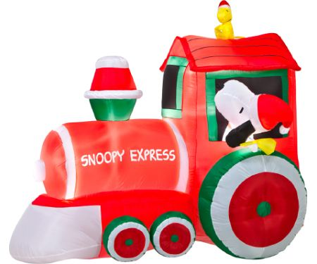 5ft Airblown Train with Snoopy and Woodstock
