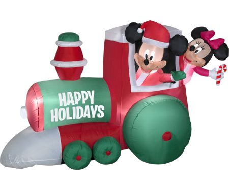 4ft Airblown Train with Mickey and Minnie