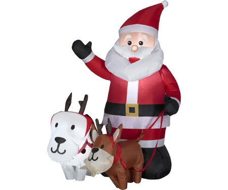 4ft Airblown Outdoor Santa with Dogs Scene