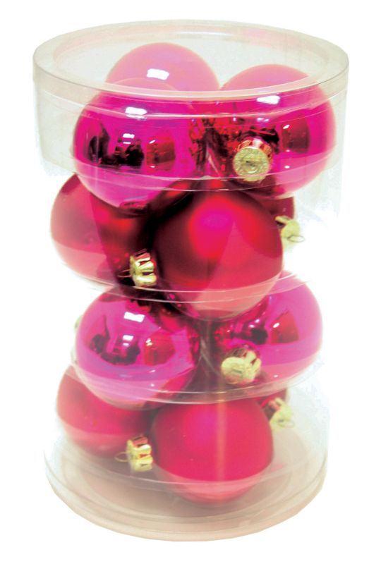 12 Piece Pink Ball Ornament Set 2.6in
