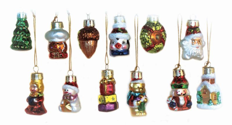 12 Piece Glass Ornament Set 2in