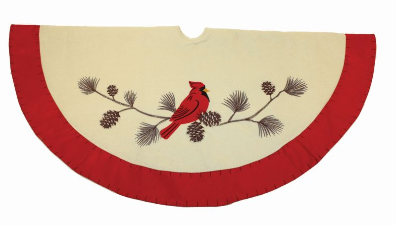 46in Red Cardinal Tree Skirt White with Red Border