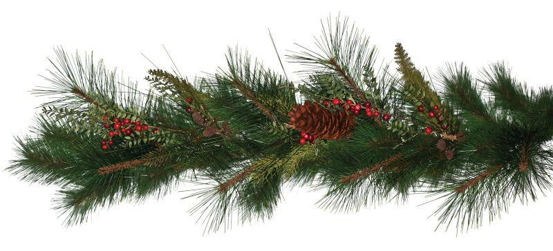 6ft Deluxe Sugar Pine Garland with Cones