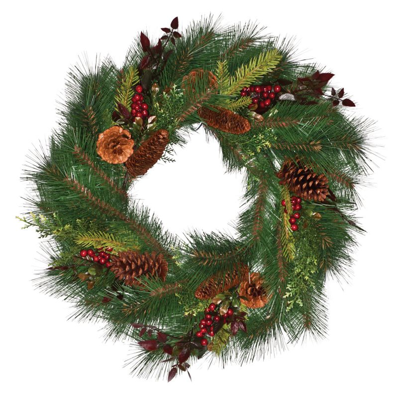 24in Pine Needle Wreath with Cones and Berries