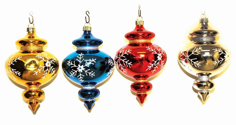 10in Shatterproof Snowflake Finial Ornament Set