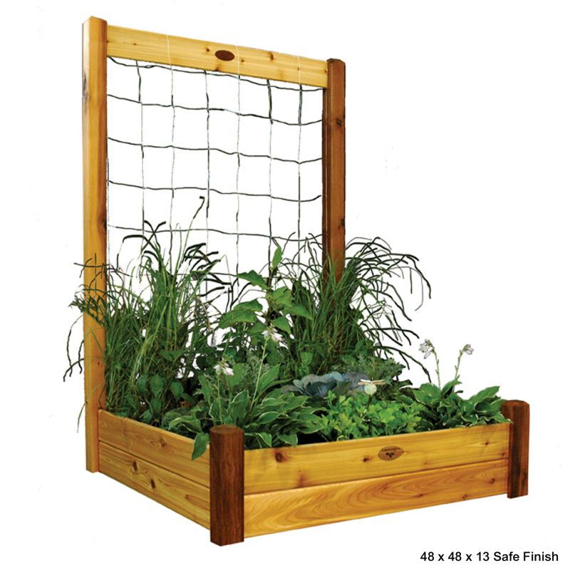Raised Garden Bed w/Trellis 48x48x13 Safe Finish