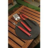 Perfect Chef 3PC BBQ Tool Set w/Red Handle