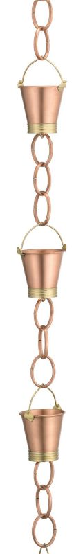 Pails 6 Cup Polished Copper Rain Chain