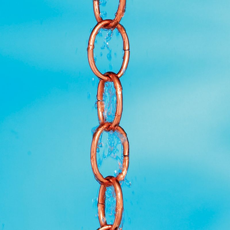 Small Single Link Rain Chain Polished Copper