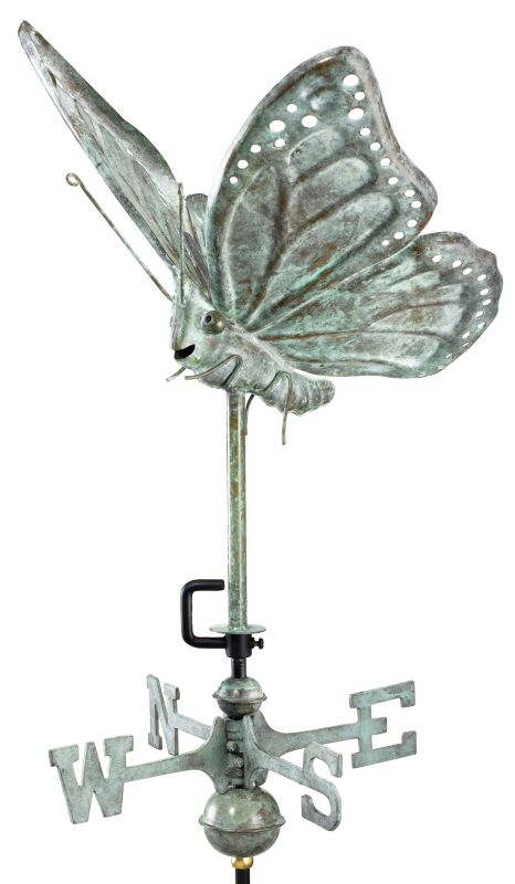 Blue Verde Butterfly Weathervane Roof Mount