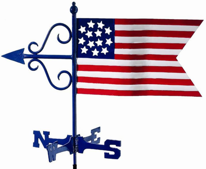 American Flag Garden Weathervane Roof Mount