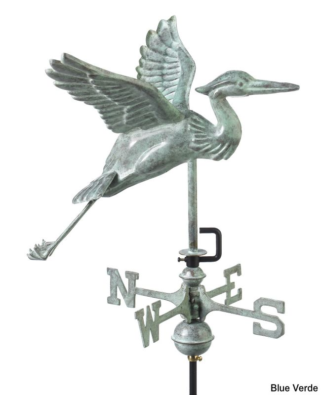 Blue Heron Weathervane Roof Mount Copper