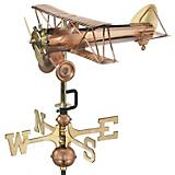 Copper Biplane Garden Weathervane