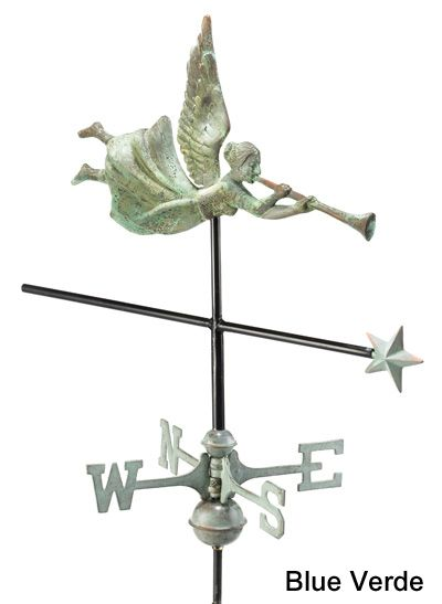 Angel Garden Weathervane Roof Mount Copper