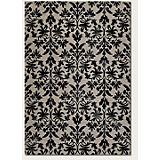 Everest Retro Damask Grey-Black Rug