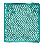 Outdoor Houndstooth Tweed Turq Chair Pad