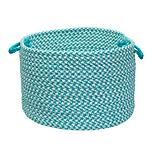 Outdoor Houndstooth Tweed Turq Basket