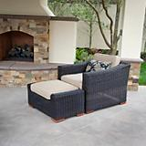Resort Club Chair and Ottoman Set Rattan Expresso