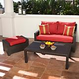 Cantina Love Seat and Ottoman with Coffee Table