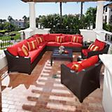 Cantina 9pc Corner Sectional Sofa and Club Chairs