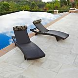 Delano Wave Chaise Lounger with Bolster Pillow 2Pk