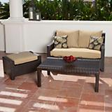 Delano Love Seat and Ottoman with Coffee Table
