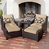 Delano 5pc Club Chairs and Ottomans Set