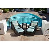 Bliss 5pc Club Chairs and Ottomans Set