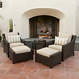 Slate 5pc Club Chairs and Ottomans Set
