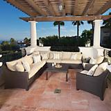 Slate 9pc Corner Sectional Sofa and Club Chairs