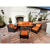 Tikka 8pc Sofa Club Chair and Ottoman Set