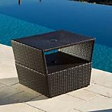 Umbrella Stand Side Table in Rattan Expresso