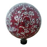 Mosaic Glass Gazing Globe with Flower Red