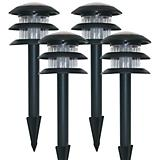 Set of 4 Super Bright Solar LED Black Metal Lght