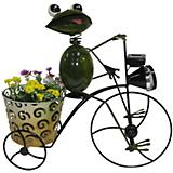 Solar Frog on Bike with Planter and Spotlight
