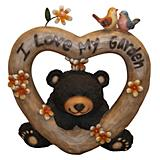 Wooden Heart Bear Statuary