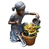 Polyresin Girl Watering Flower Floor Fountain