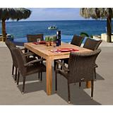 Amazonia Teak Brussels 7Pc Teak Wicker Dining Set
