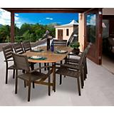 Amazonia Teak Ancara 9Pc Faux Wood Dining Set