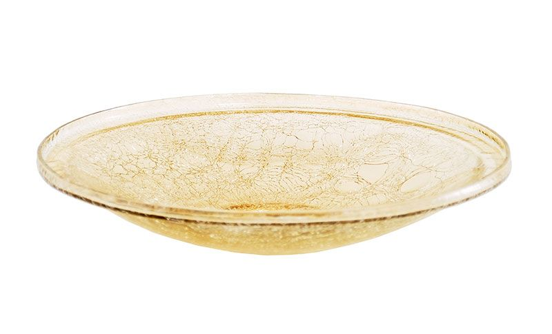 14In Crackle Glass Bowl Apricot Ice
