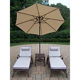 Elite 3pc Lounge Set with Cushion Umbrella