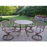 Mississippi Cast Aluminum 5pc Swivel Dining Set