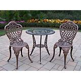 Mississippi 3pc Glass Top Bistro Set