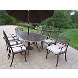 Mississippi Oval 9pc Set w/ Brn Umbrella and Stand