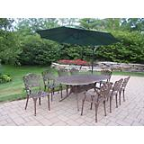 Mississippi 9pc Dining Set w/ Offset Umbrella