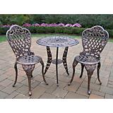 Tea Rose Cast Aluminum 3pc Bistro Set