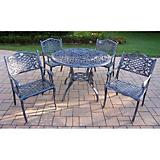 Tea Rose Cast Aluminum 42Inch 5pc Dining Set