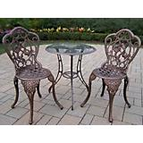 Hummingbird Glass Top 3pc Bistro Set