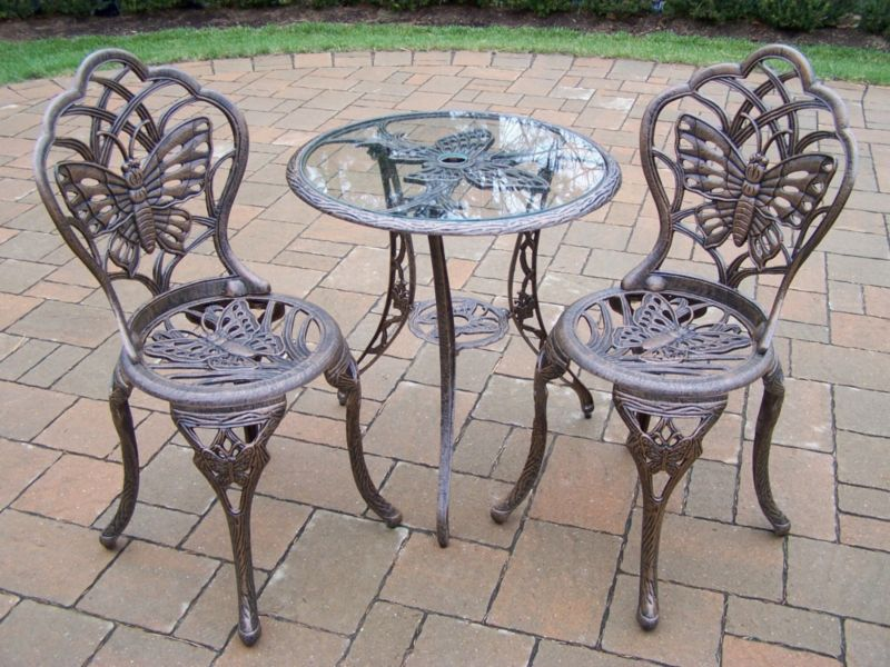 Butterfly Glass Top 3pc Bistro Set Antique Bronze
